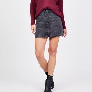 Free People Buttoned Denim Mini Skirt
